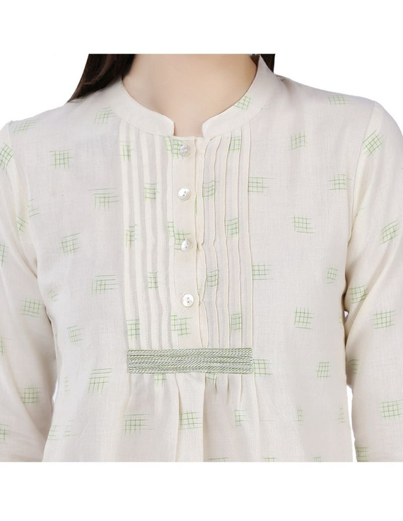 OFF WHITE SHORT TOP IN DOUBLE IKAT COTTON : LB140C-S-4
