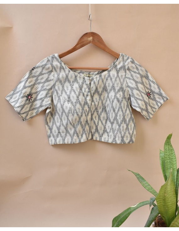 White and Grey  Ikat blouse with hand embroidery: RB06C-XXL-1