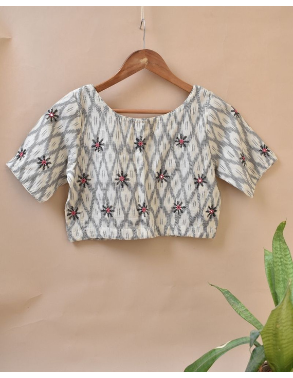 White and Grey  Ikat blouse with hand embroidery: RB06C-RB06C-XXL