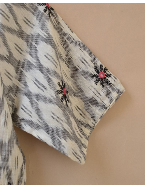White and Grey  Ikat blouse with hand embroidery: RB06C-XXL-2