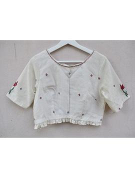 Lotus motif offwhite jamdani croptop blouse with sleeves: RB07F-XL-1-sm