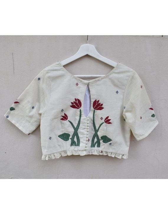 Lotus motif offwhite jamdani croptop blouse with sleeves: RB07F-RB07B-XXL