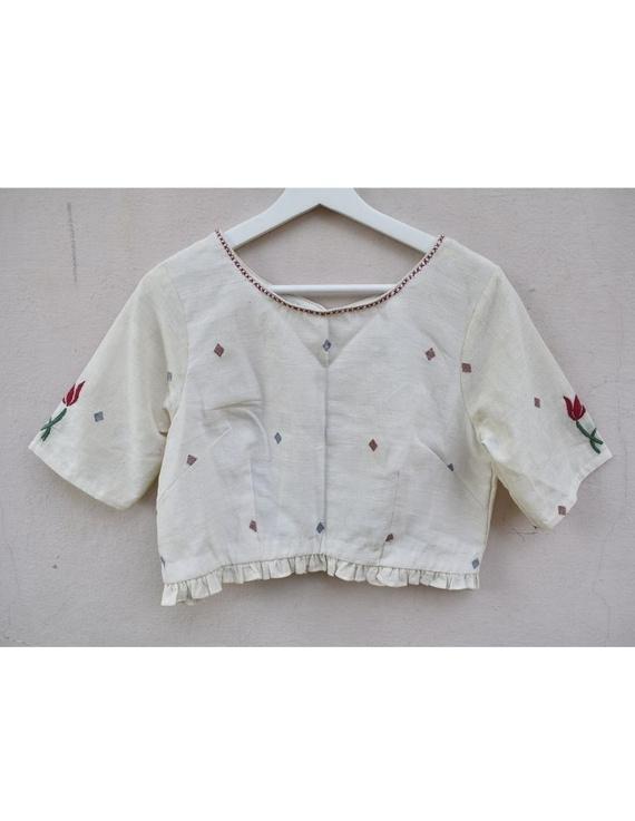 Lotus motif offwhite jamdani croptop blouse with sleeves: RB07F-XXL-1