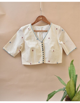 Dandelion motif offwhite jamdani khadi blouse with sleeves: RB07C-RB07C-L-sm