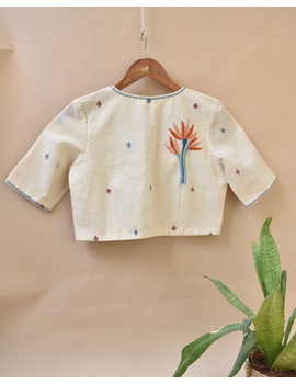 Dandelion motif offwhite jamdani khadi blouse with sleeves: RB07C-XL-3-sm