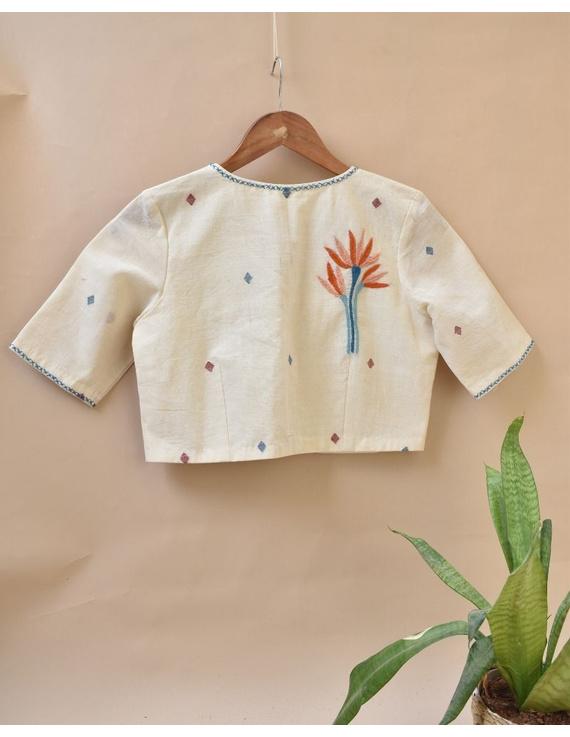 Dandelion motif offwhite jamdani khadi blouse with sleeves: RB07C-XL-3