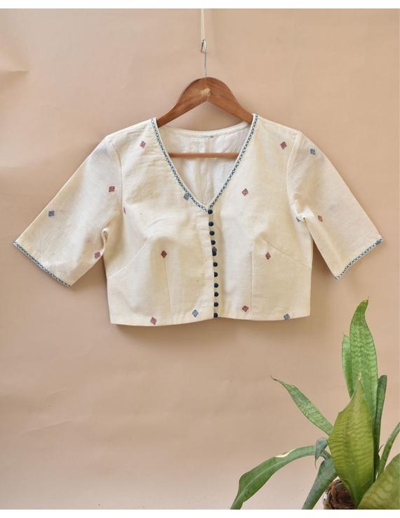 Dandelion motif offwhite jamdani khadi blouse with sleeves: RB07C-RB07C-XXL