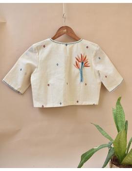 Dandelion motif offwhite jamdani khadi blouse with sleeves: RB07C-XXL-3-sm