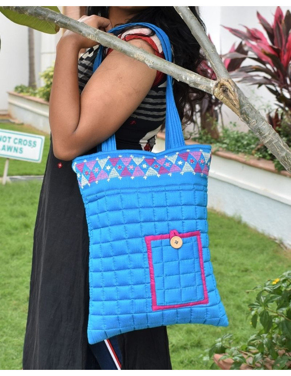 BLUE SILK QUILTED TOTE CUM LAPTOP BAG WITH HAND EMBROIDERY: TBA01-5
