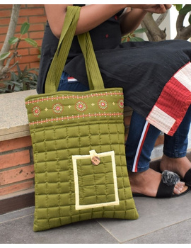 MUSTARD GREEN SILK QUILTED TOTE CUM LAPTOP BAG WITH HAND EMBROIDERY: TBA02-4-sm