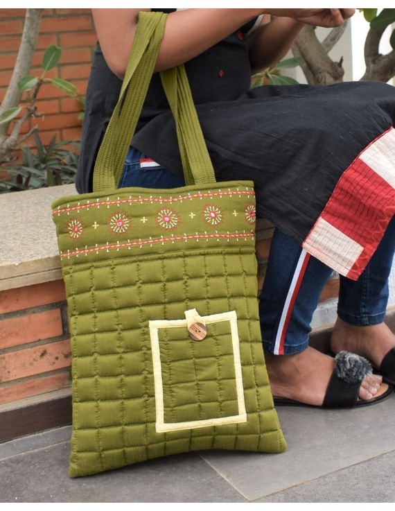 MUSTARD GREEN SILK QUILTED TOTE CUM LAPTOP BAG WITH HAND EMBROIDERY: TBA02-4
