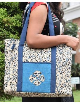 BLUE KALAMKARI SHOULDER CUM LAPTOP BAG: LBK01-Blue-5-sm