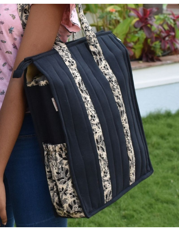 Black Quilted jute bag with laptop partition : LBV02-LBV02
