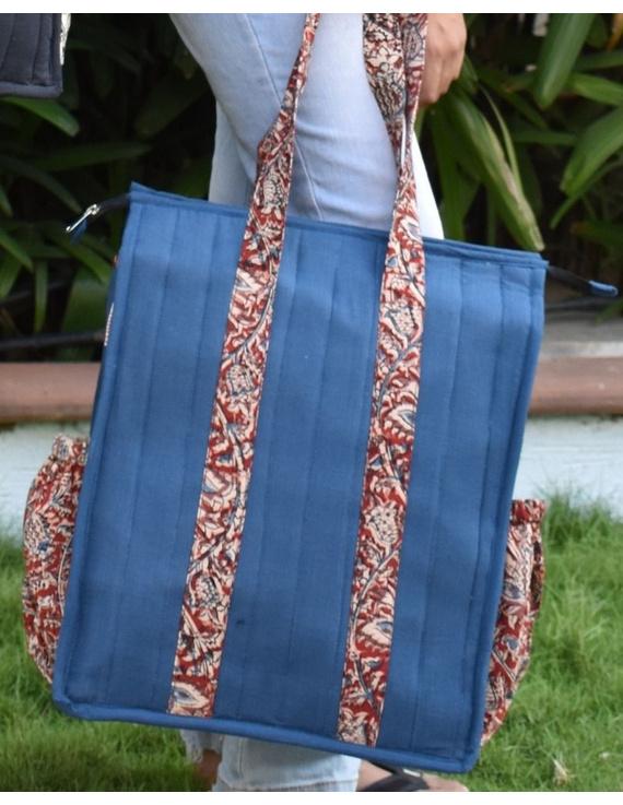 Blue Quilted vertical laptop bag : LBV01-LBV01