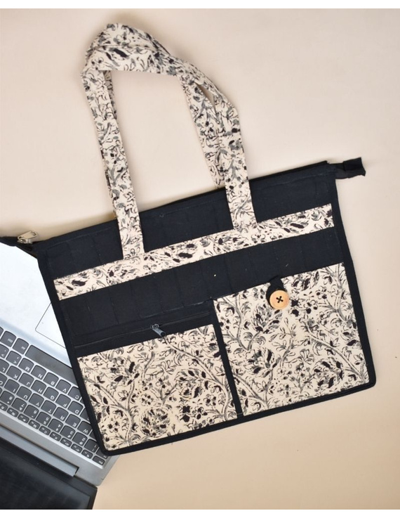 Jute and kalamkari laptop bag - Black : LBJ03-LBJ03