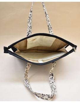 Jute and kalamkari laptop bag - Black : LBJ03-1-sm