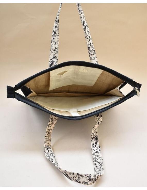 Jute and kalamkari laptop bag - Black : LBJ03-1