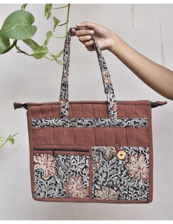 Jute and kalamkari laptop bag - Maroon : LBJ05-1