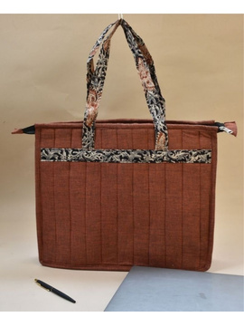 Jute and kalamkari laptop bag - Maroon : LBJ05-3-sm
