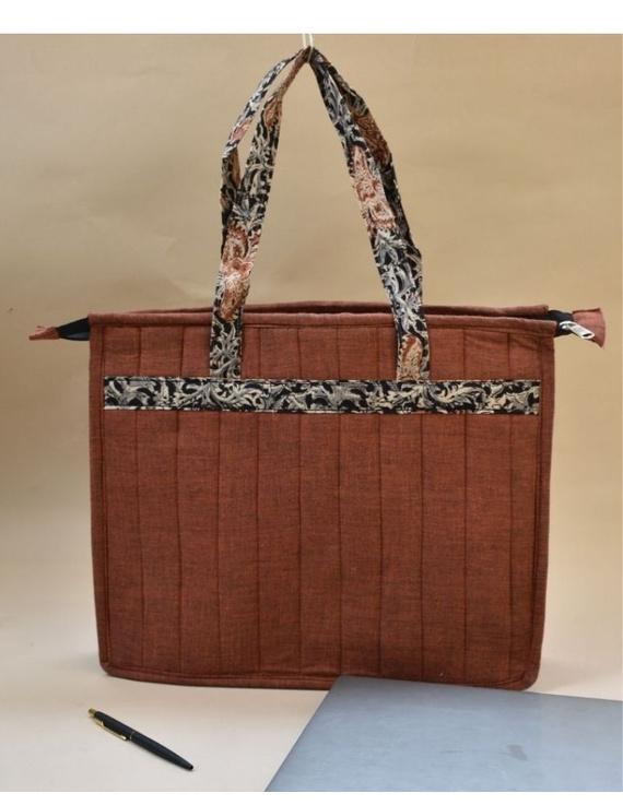 Jute and kalamkari laptop bag - Maroon : LBJ05-3