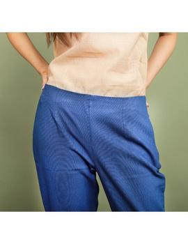 Cotton narrow pants with elasticated waist: EP02-Blue-L-1-sm