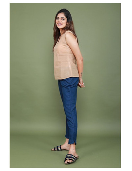Cotton narrow pants with elasticated waist: EP02-Blue-L-2-sm