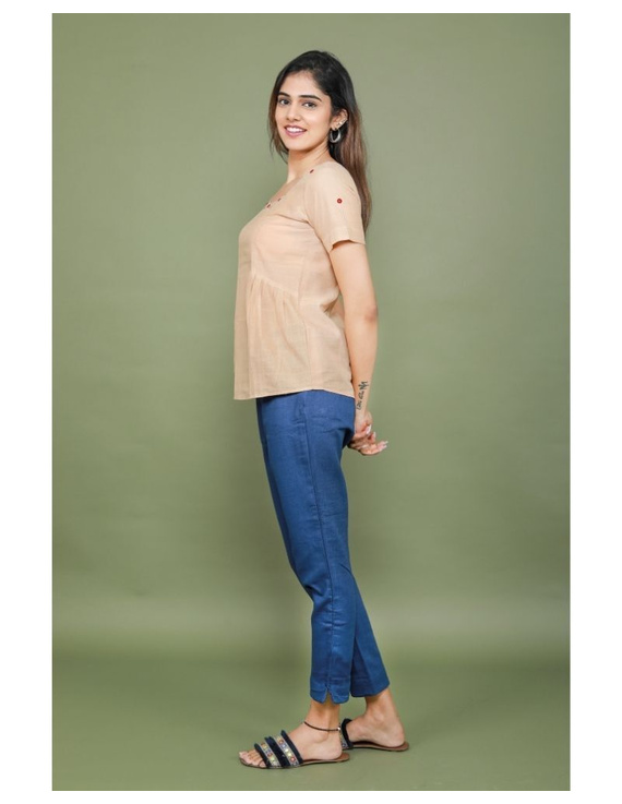 Cotton narrow pants with elasticated waist: EP02-Blue-L-3