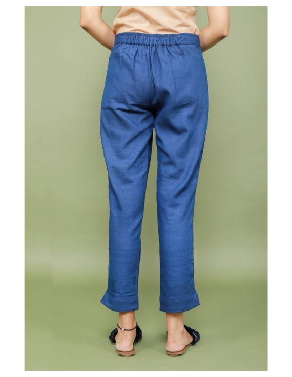 Cotton narrow pants with elasticated waist: EP02-Blue-L-4