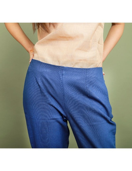 Cotton narrow pants with elasticated waist: EP02-S-Blue-1-sm