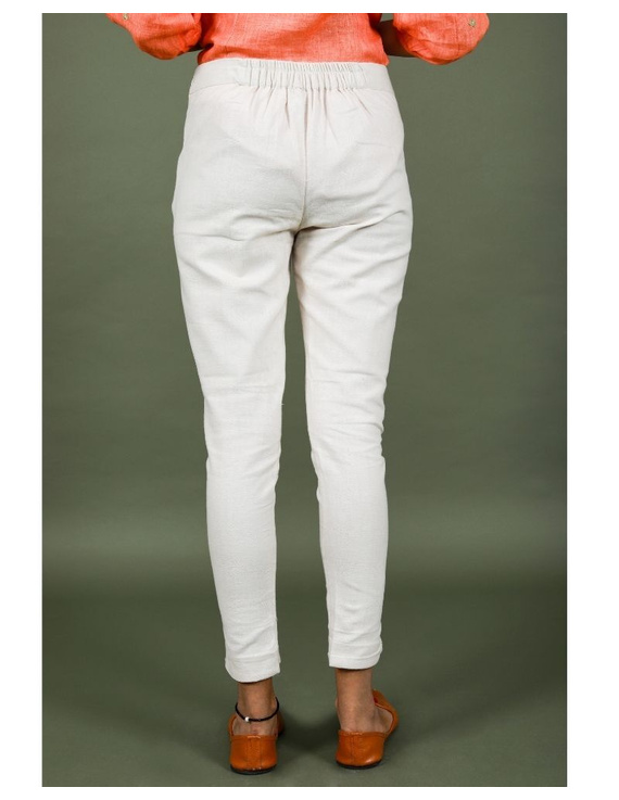 Cotton narrow pants with elasticated waist: EP02-Cream-L-2