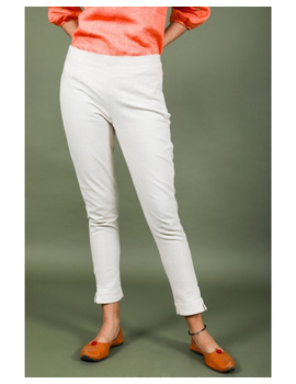 Cotton narrow pants with elasticated waist: EP02-EP02Bl-M-sm