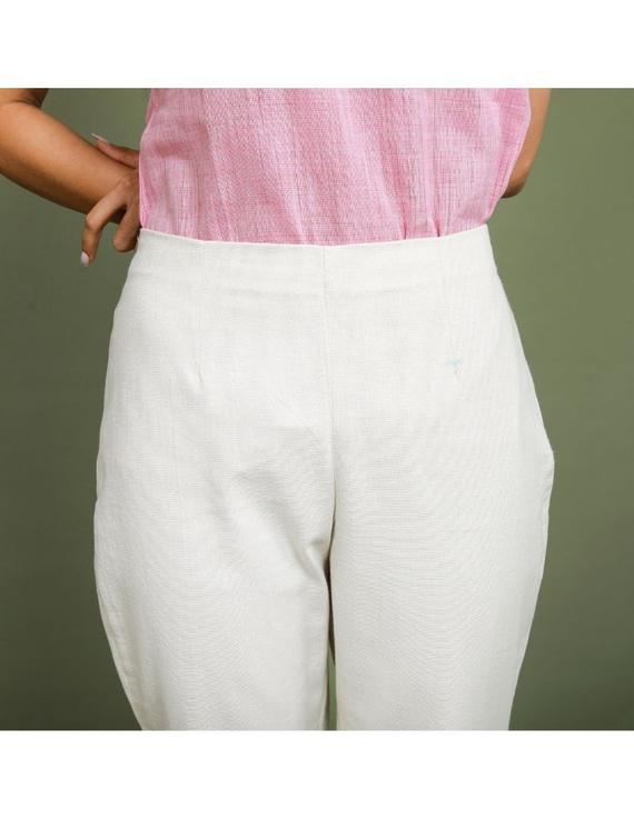 Cotton narrow pants with elasticated waist: EP02-Cream-M-1