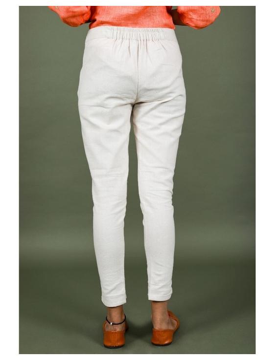Cotton narrow pants with elasticated waist: EP02-Cream-M-2