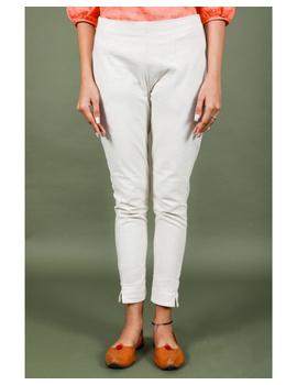 Cotton narrow pants with elasticated waist: EP02-Cream-M-3-sm