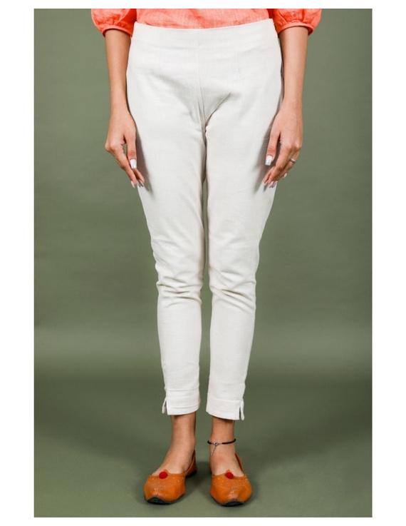 Cotton narrow pants with elasticated waist: EP02-Cream-M-3