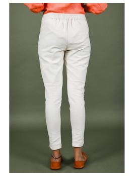 Cotton narrow pants with elasticated waist: EP02-S-Cream-2-sm
