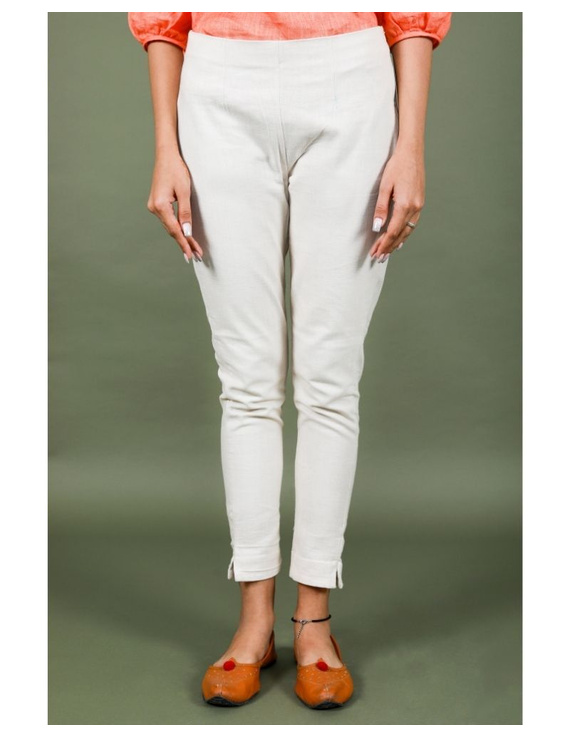 Cotton narrow pants with elasticated waist: EP02-S-Cream-3