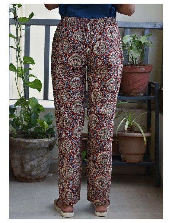 Narrow Fit Kalamkari Pants: EP03-Red-M-1