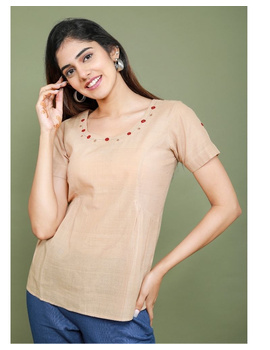 Short sleeves cotton short top with round neck-LB150-LB150Al-L-sm