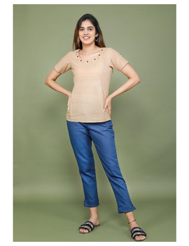 Short sleeves cotton short top with round neck-LB150-L-Beige-1-sm