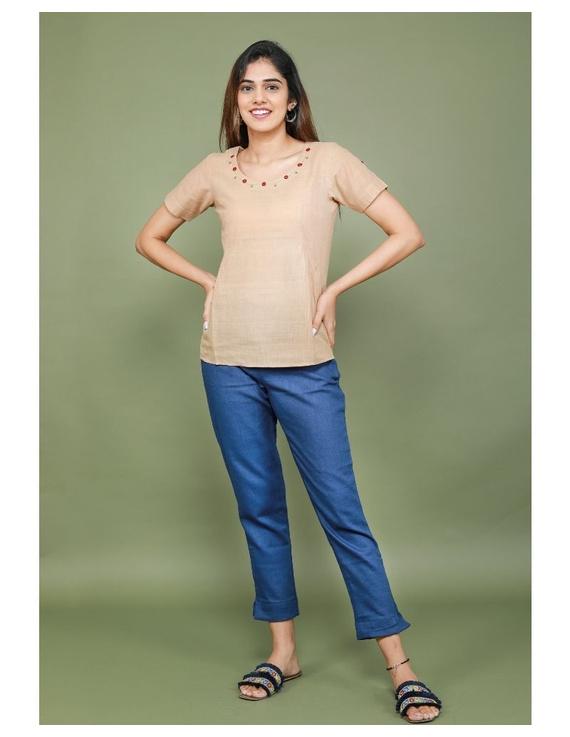 Short sleeves cotton short top with round neck-LB150-XXL-Beige-1