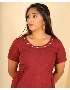 Short sleeves cotton short top with round neck-LB150-LB150Bl-S-sm