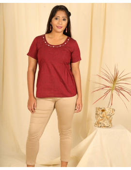 Short sleeves cotton short top with round neck-LB150-S-Maroon-1-sm