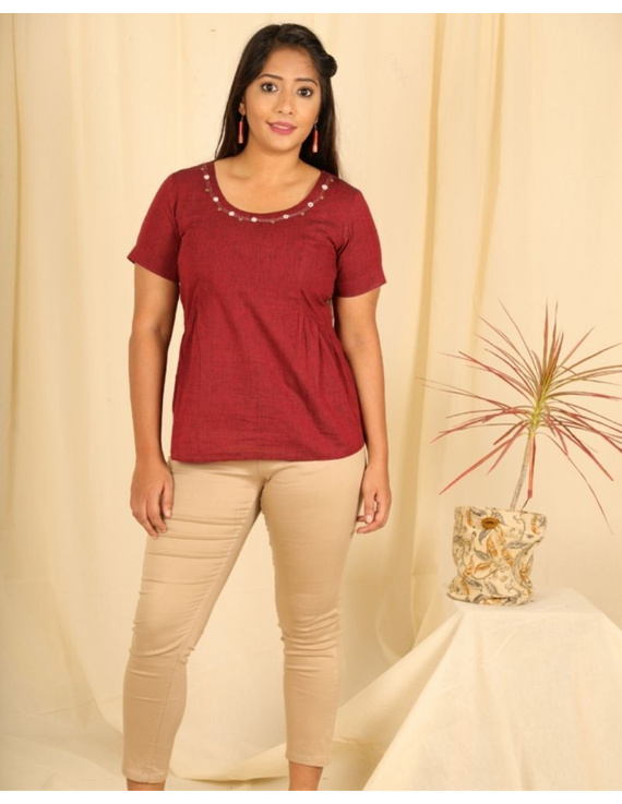 Short sleeves cotton short top with round neck-LB150-S-Maroon-1
