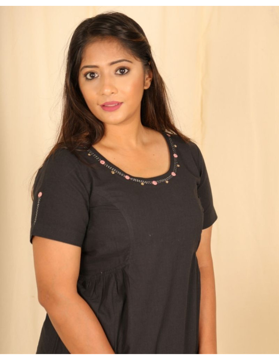 Short sleeves cotton short top with round neck-LB150-LB150Cl-L