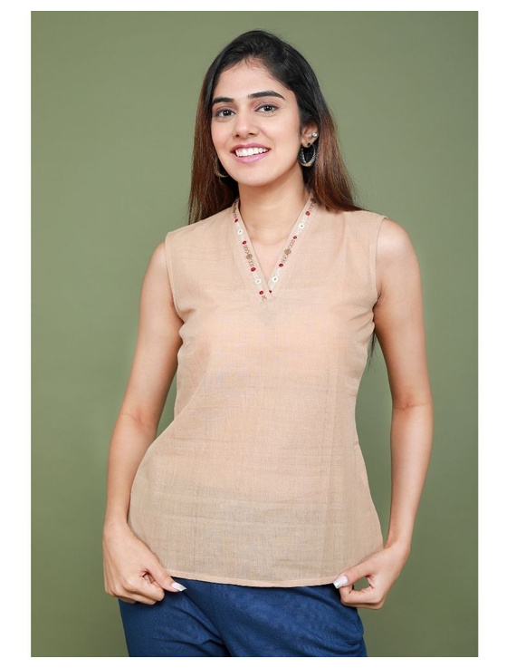 Sleeveless cotton short top with embroidered V neck-LB160-LB160Al-L
