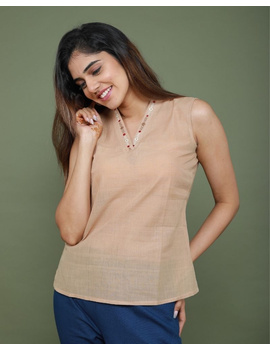 Sleeveless cotton short top with embroidered V neck-LB160-S-Beige-1-sm