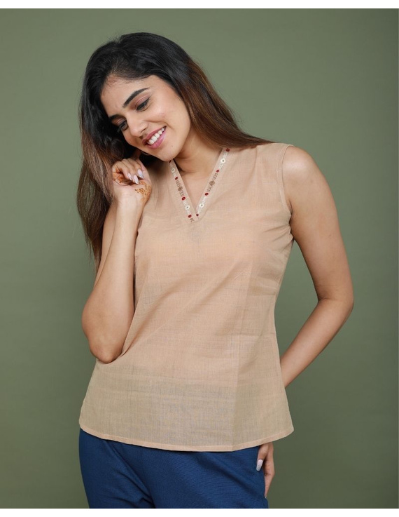 Sleeveless cotton short top with embroidered V neck-LB160-S-Beige-1