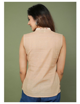Sleeveless cotton short top with embroidered V neck-LB160-S-Beige-2-sm