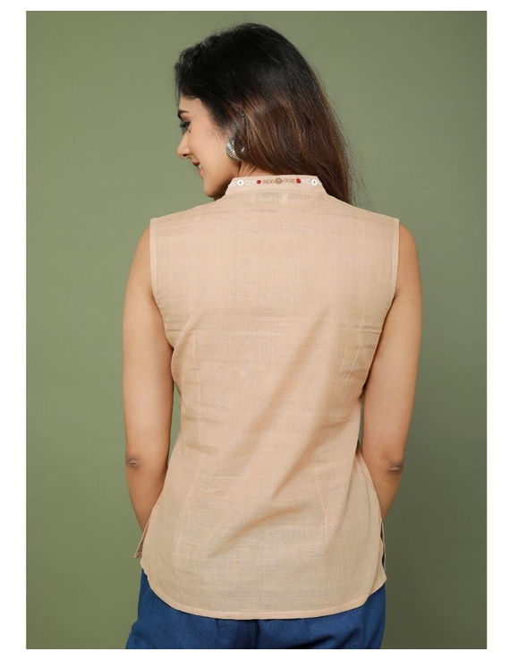 Sleeveless cotton short top with embroidered V neck-LB160-S-Beige-2